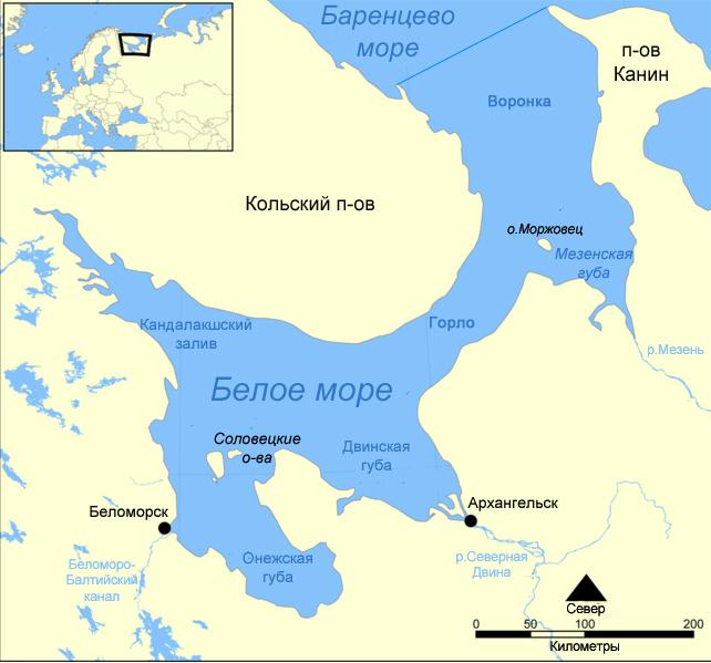 Белое моря где находится
